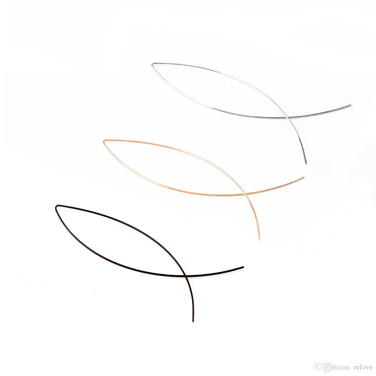 Yeni! Soyut sanat moda saplama küpe Balık Şekli Bent Bakır Küpe Damızlık Gümüş Altın Kaplama Küpe Muhtasar Stil