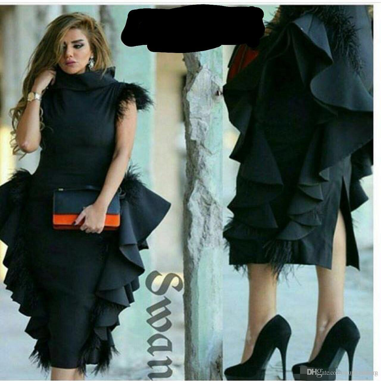 2019 High Neck Feather On Shoulder Evening Dresses Ruffles Black Peplum Tea Length Formal Arabic Prom Party Dresses Custom Made