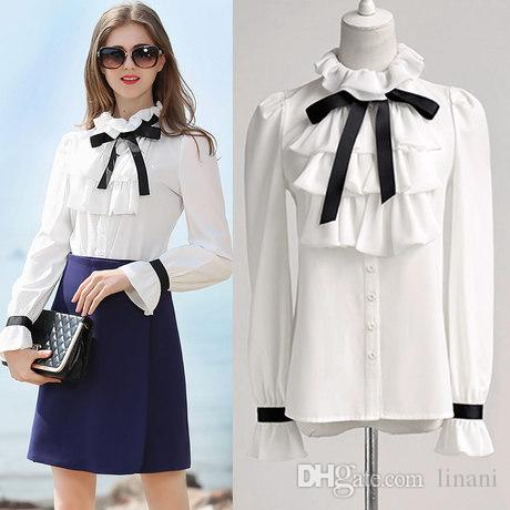 4619f94a629 2019 European White Ruffle Stand Neck Shirt Women High Neck Ruffle Blouse  Puff Long Sleeve Ruffle Ribbon Bows Shirt From Linani