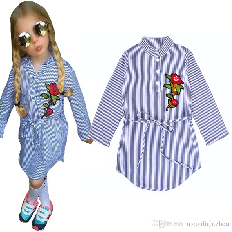 62bb65218 Toddler Girl Shirts Stripe Children Blouse Tops Autumn 2017 Cute Floral  Kids Baby T Shirt With Belt Flower Girls Clothes Outfits 24M 6T Cheap Boys  T Shirts ...