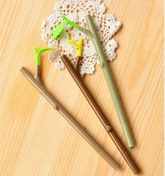 Novelty Stationery Tree Branch & Anti Dust Plug Black Ink Ball Point Pens Stationery School & Office Supplies Korean Stationery