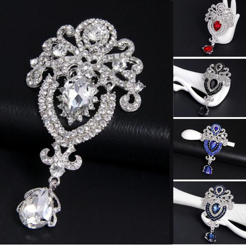 Luxury Crown Brooches Pin Silver Tone Rhinestone Crystal Big Water ... 8a6142dbf02a