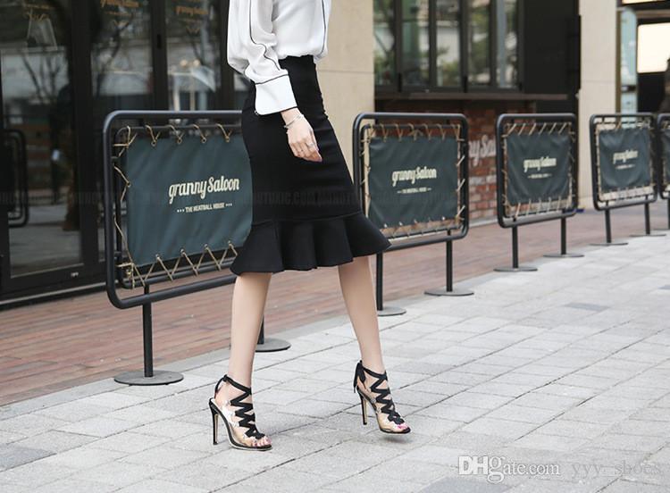 Balo Parti Stilettos Tek Ayakkabı Womens Peep Toes Ayakkabı Yaz Sandalet Çizmeler Yüksek Topuklar Ayakkabı Ince Topuk 11 cm Knot Papyon Hızlı Kargo