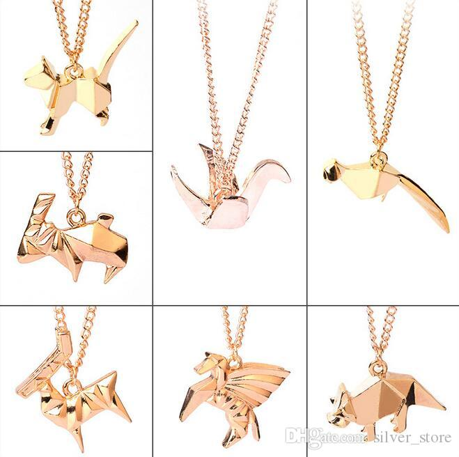 Brand new Personalized creative origami dinosaur antelope paper crane long animal necklace WFN403 with chain a