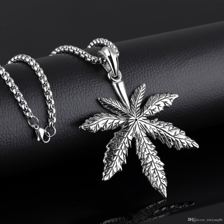 Hemp Biker 316L Stainless Steel classic maple leaf Pendant Men's Necklace Large 4mm 24'' Rolo Chain