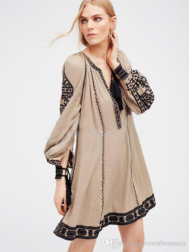 mode national style rétro robe d'été les femmes boho robe broderie gland lâche hippie chic robe de plage robes