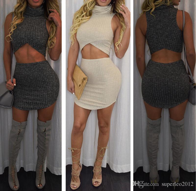 Kadın Moda Sonbahar Kış Kintted Elbise Yüksek Boyun Kint Kolsuz Üst ve Etekler 2 Parça bir Set Parti Mini Etekler Ince Bodycon YS