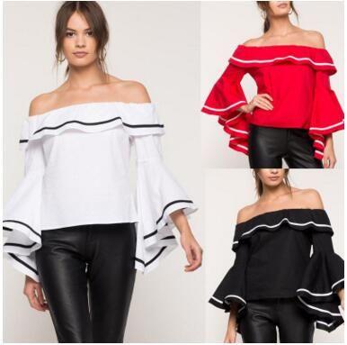 da54081175dd 2019 Elegant Women Sexy Off Shoulder Ruffles Blouses Autumn Fashion Flare  Sleeve White Shirt Tops Summer Spring Blouses Autumn Blusa Streetwear From  ...