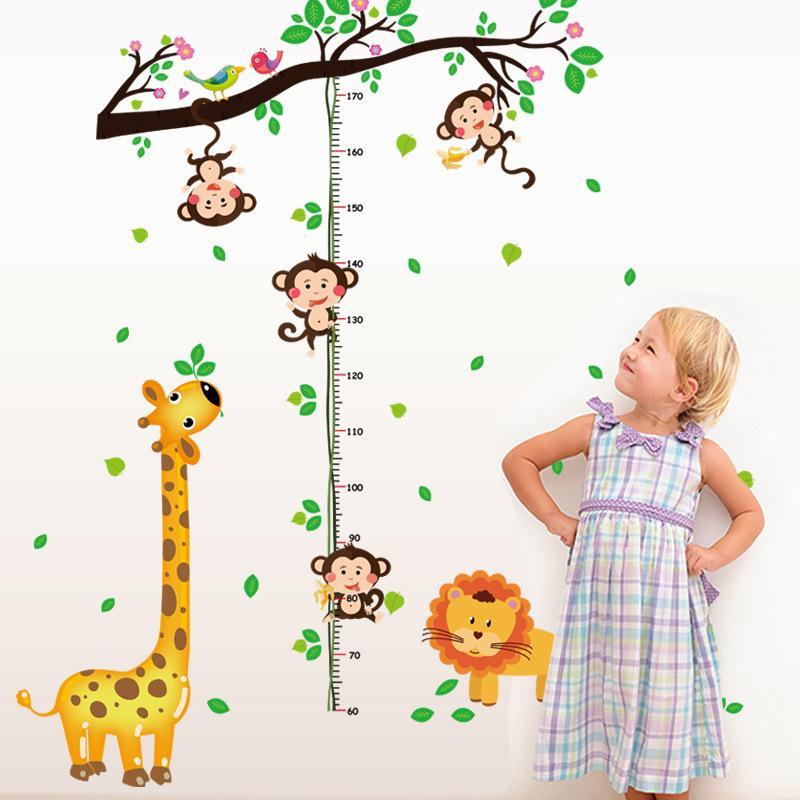 Cartoon Little Monkey Climbing the Tree Branches Wall Stickers Lion Giraffe Height Growth Chart Wallpaper Poster Kids Room Nursery Decor Art