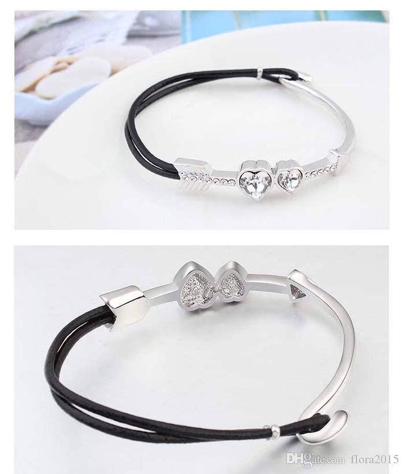 fashion cupid arrow design made with Swarovski elements crystal bijoux bracelet luxe marque for women wedding party jewelry gift