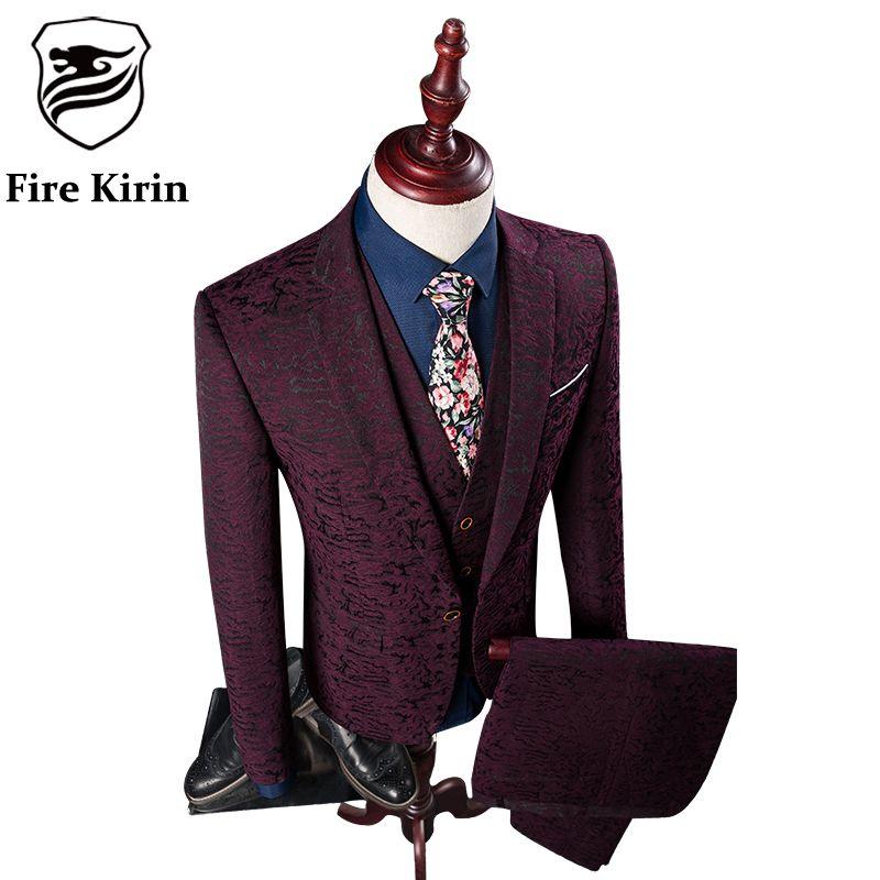2018 Wholesale Fire Kirin Suit Men 2017 Burgundy Suit Jacket Prom ...
