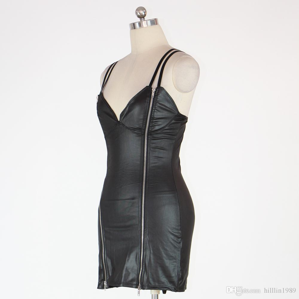 Women Summer Faux Leather Clubwear V-Neck Sleeveless Double Zipper Closure Backless Sexy PVC Black Party Dress W146308