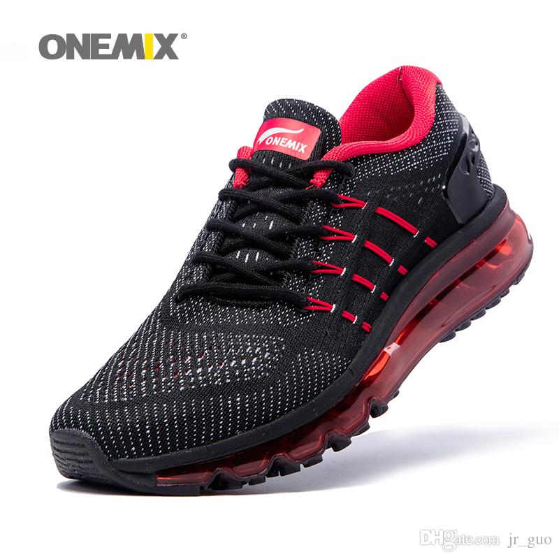 2019 ONEMIX Running Shoes For Men Air Cushion Shox Athletic Trainers Man  Black Red Trail Sports Unique Shoe Tongue Outdoor Walking Sneakers 2018  From Jr guo ... 107f1878f