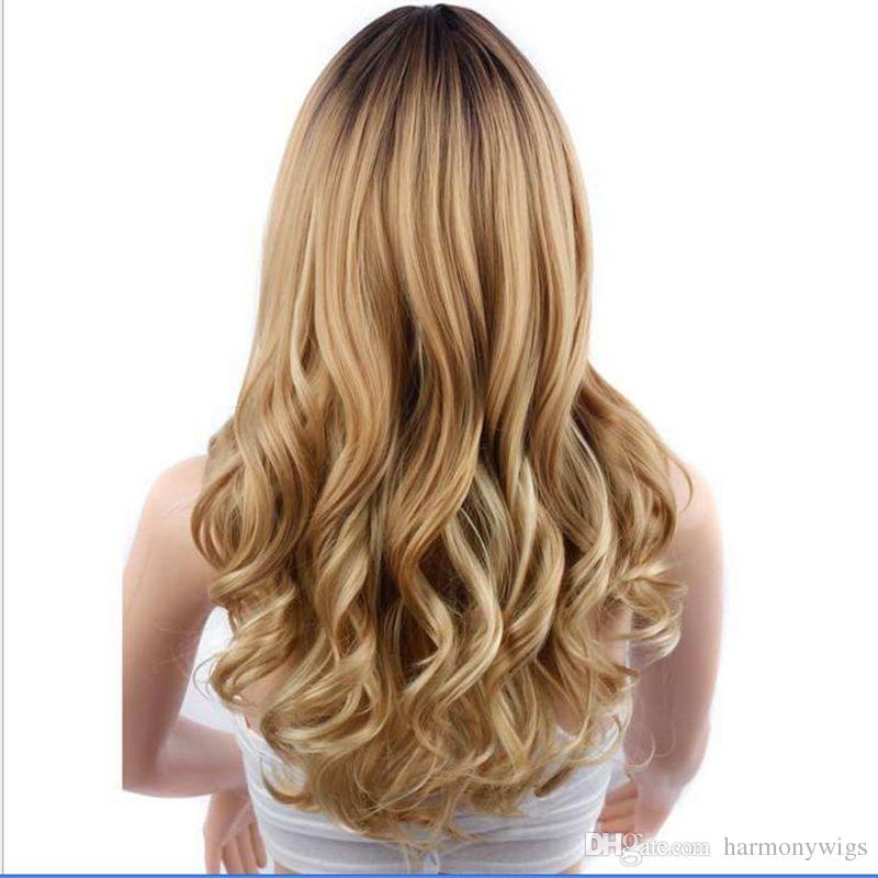 Ombre Saç Peruk Kıvırcık Uzun Peruk Ombre Üç Renk 26 inç Orta Kısmı Isıya Dayanıklı Sentetik Saç Peruk