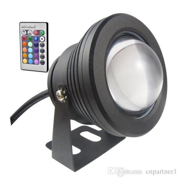 Alta calidad 12V o 85-265V 10W Lámpara de luz subacuática LED Lámpara de inundación Piscina Luz Acuario Fuente bombillas Reflector cálido / blanco / RGB + 24 teclas