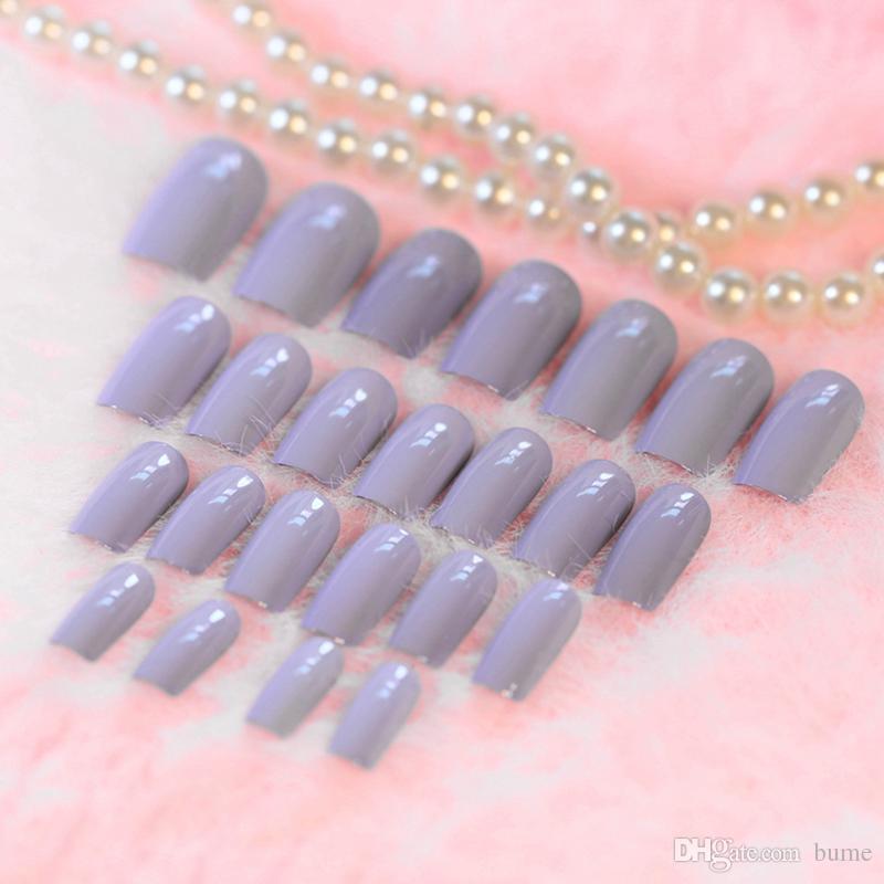 Wholesale Taro Color Nail Art Full Tips Curve Shiny Flat Lady False ...