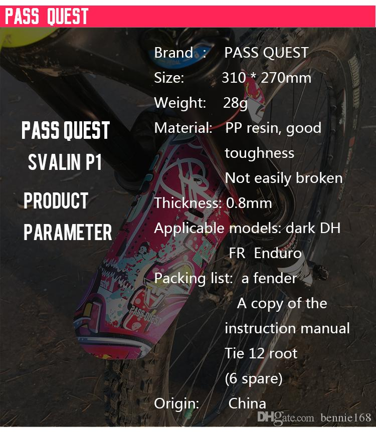 PASS QUEST Creative graffiti fender Mountain bike road bicycle front/rear fender Sex red lips zombie burst DH FR ENDURO