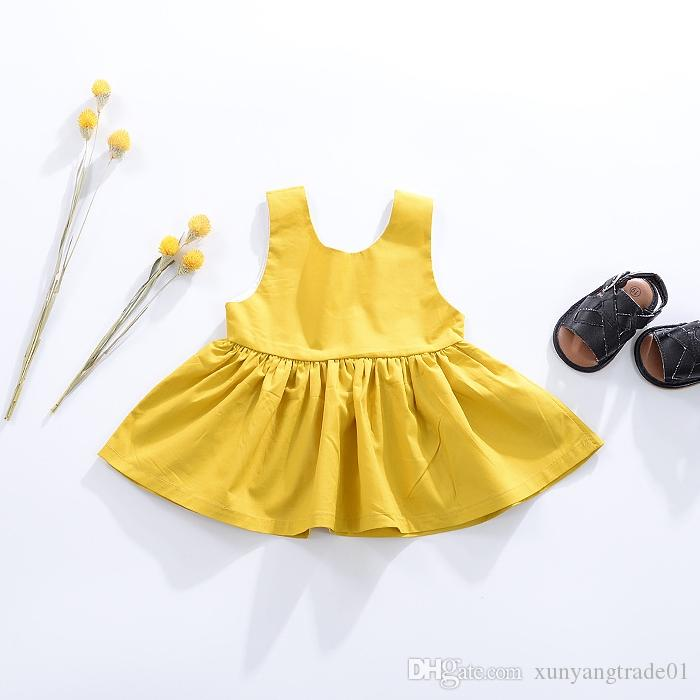 d4069c7ce97 Baby Clothes INS Girls Dresses Summer Newborn Infant Cotton Solid Color  Sleeveless Backless Dress Kids Princess Dresses Kids Clothing 062 Online  with ...