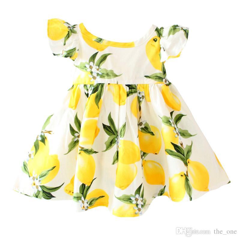 Cherry limón Algodón sin espalda niñas floral playa vestido lindo bebé verano sin espalda vestido halter niños vintage vestido de flores envío gratis