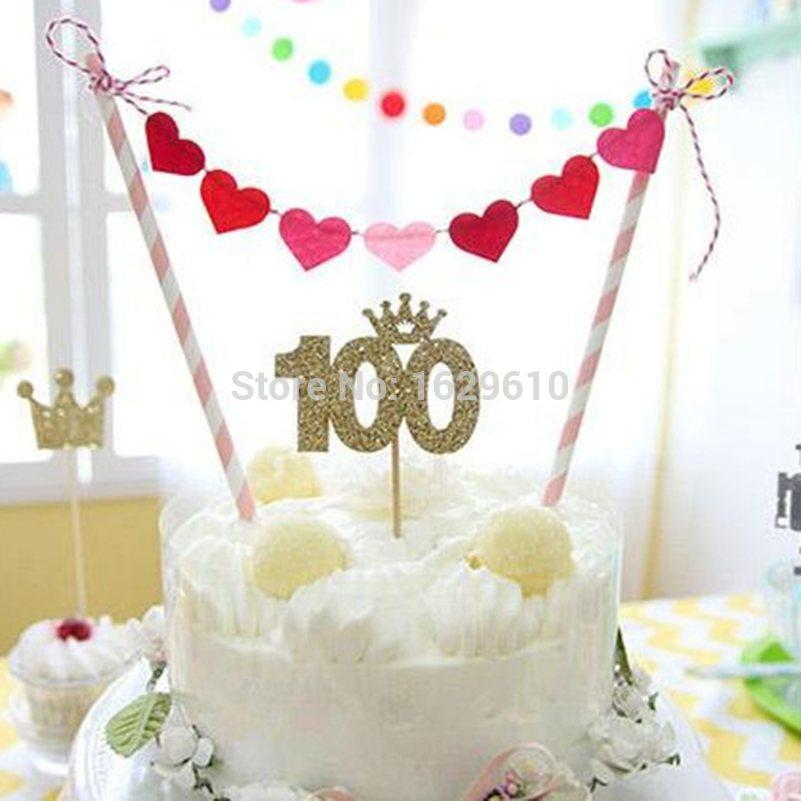 2019 Wholesale Creative Cake Bunting Banner Topper 100 Heart Flag Birthday Party Supplies DIY Decoration Kit Cakes Picks Shower From Copy03