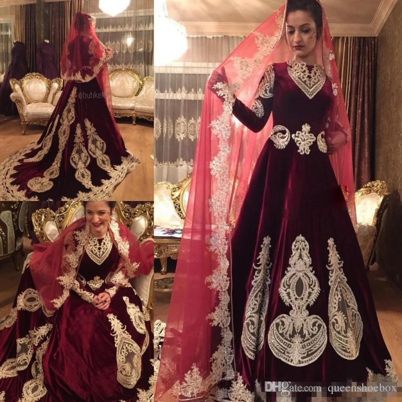 83ac331e419 Discount Vintage Burdundy Velvet Dress Muslim Wedding Gown Long Sleeves  Chapel Train Indian Style Bridal Gown Vestidos Custom Made Appliques Beads  A Line ...