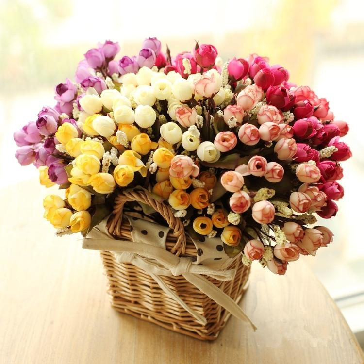 Wholesale-Colorful Silk Flowers Artificial Flower 15 Heads Mini Rose ...