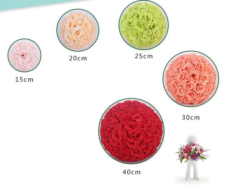 20cm Rose Kissing Balls For Wedding Silk Flower Ball Decorative Artificial Flowers 15cm - 40cm Multi Color Options Pomander Balls KB-004