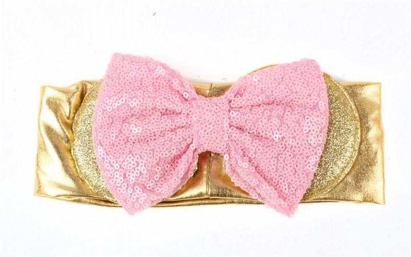 2017 New Children Hair Accessories Girls Headwear Christmas bows Europe stripe bow sequin baby Headband Cute Big hair bows Bands A6262