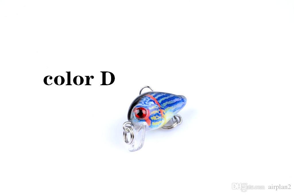 Оптовая продажа цветовой серии Plastic Bionic Hard Bait Crankbait 3см, 1,5 г Мини поверхность рыболовные приманки поддельные приманки рыба с крюком 1606699