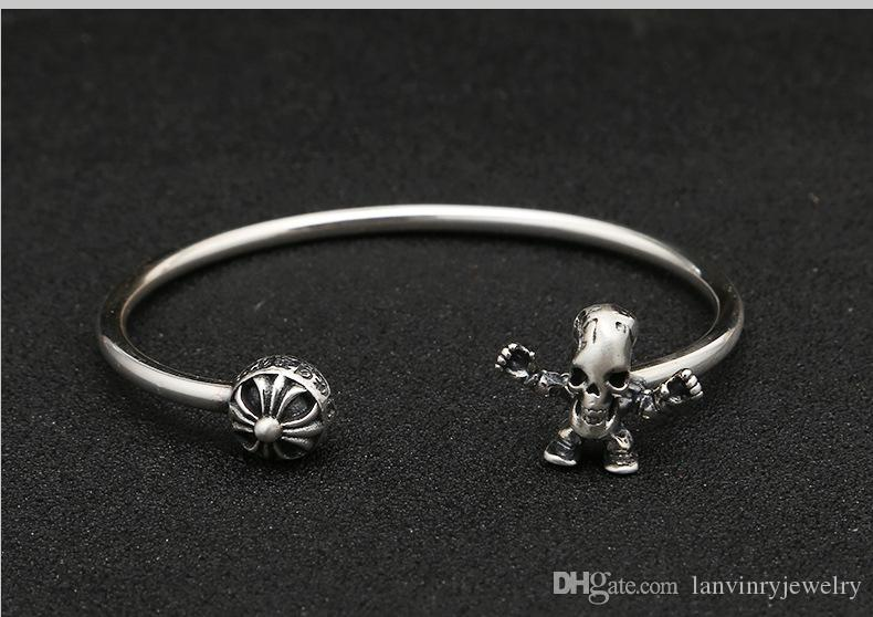 Luxury brand new 925 sterling silver jewelry hand-made designer cross Skull Skeleton vintage style bracelet bangles adjustable for women