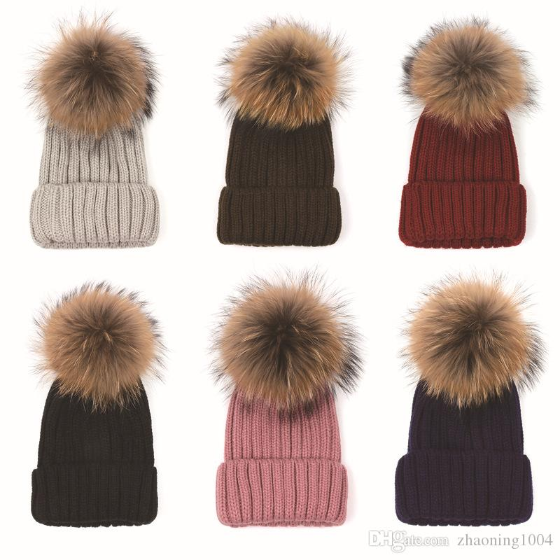 8ed2ba399e1 Quality Removable Real Racoon Dog Fur Pom Knitted Acrylic Beanies Winter  Head Warmer Fur Ball Hats For Adults Mens Womens Slouchy Snow Cap Cute  Beanies Red ...