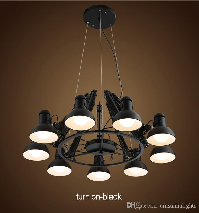 LED Modern Spider Pendant Lamps Américain Noir Blanc Spider Pendant Lamp Fixture 6/9/12 Lampes Home Restaurant Bureau Magasin Cafés Drop Light
