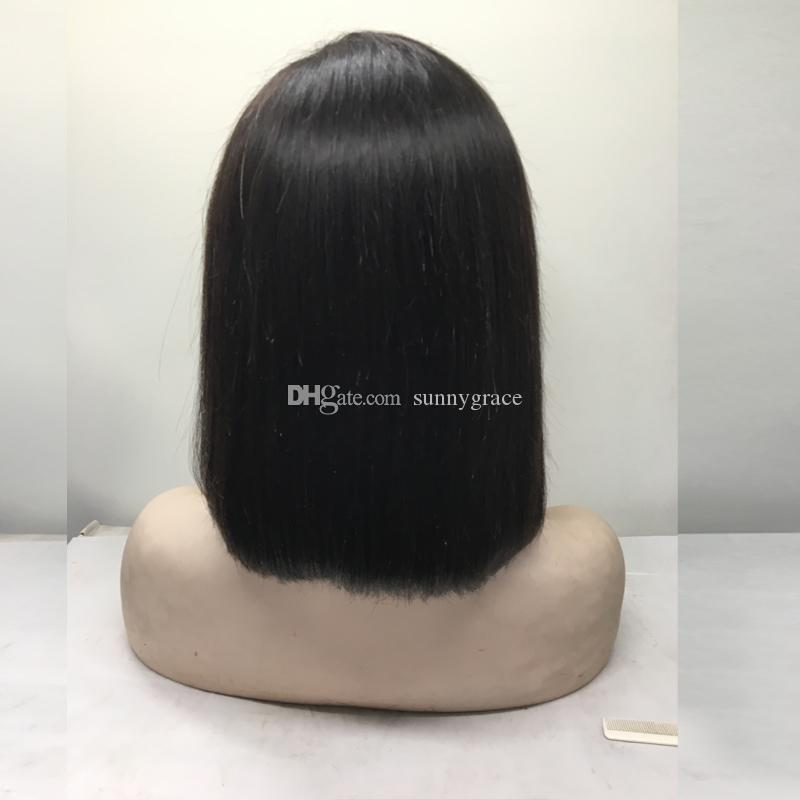 100% human hair straight cut bob wig short peruvian hair full lace wig with bangs glueless lace front wig left side part