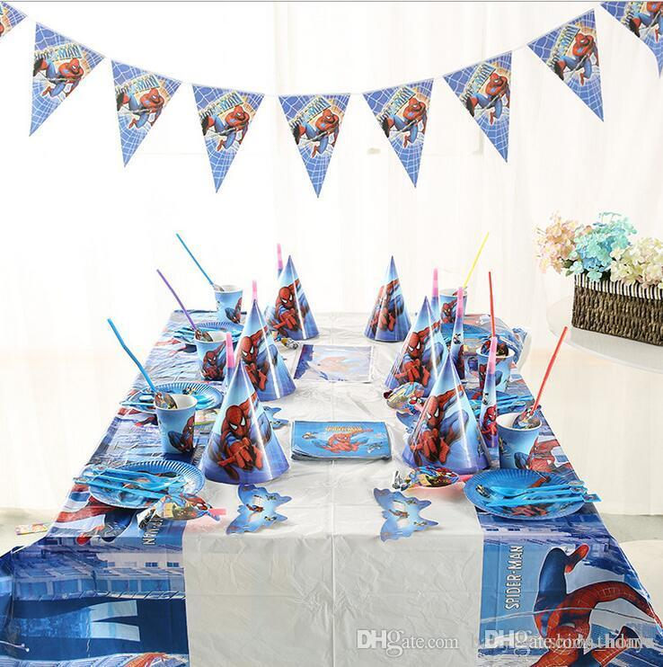Online Cheap Spiderman Birthday Party Kit For 6 People Decoration