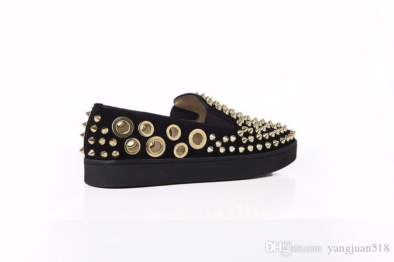 Fashion LTTL High Quality Summer Casual Shoes Men Creepers Gold Spikes Breathable Holes Flats Platform Large Size 45