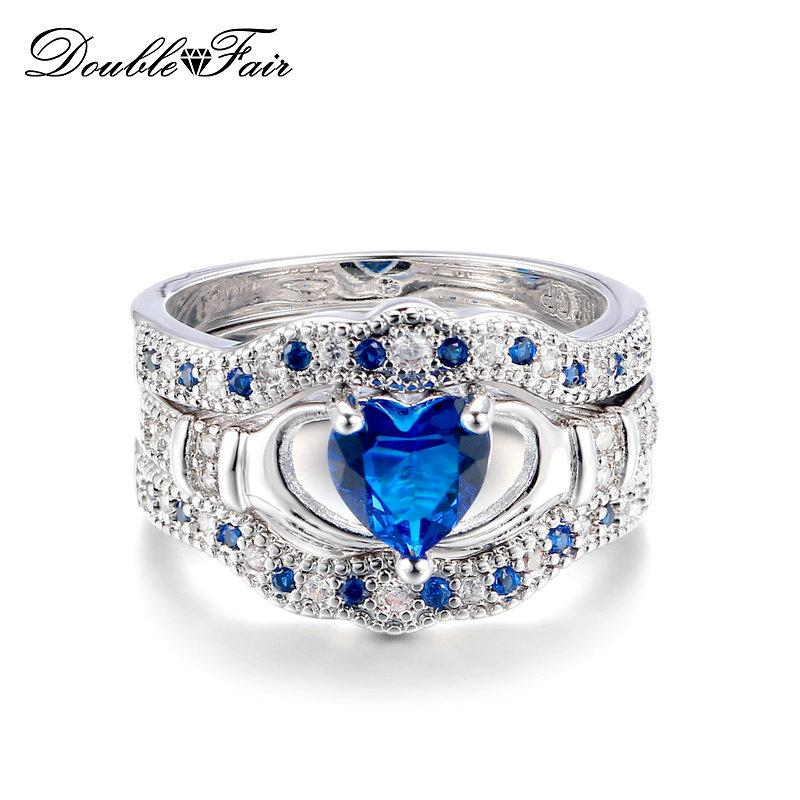 2018 Blue Heart Engagement Ring Sets Noble Crown Cubic Zirconia Ring Sets  Silver Color Fashion Wedding Crystal Women Party Jewelry Dfr615 From  Double_fair, ...