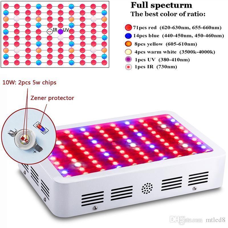 Алмазный 600 Вт 800 Вт 1000 Вт 1200 Вт 1500 Вт 1600 Вт 1800 Вт 2000 Вт двойной чип привело светать полный спектр красный/синий/УФ/ИК для комнатных растений