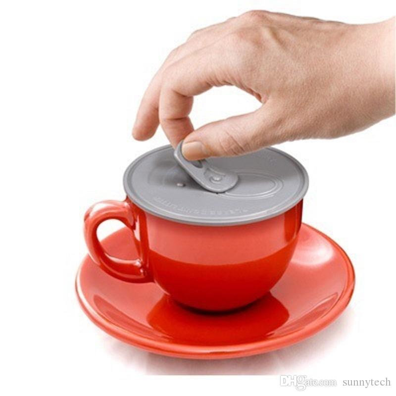 200 قطع الجدة سهلة سحبها سيليكون كأس غطاء إبقاء الاشياء الخاصة بك الساخنة الطازجة القدح غطاء الغبار غطاء مانعة للتسرب غطاء ل القهوة WA1827