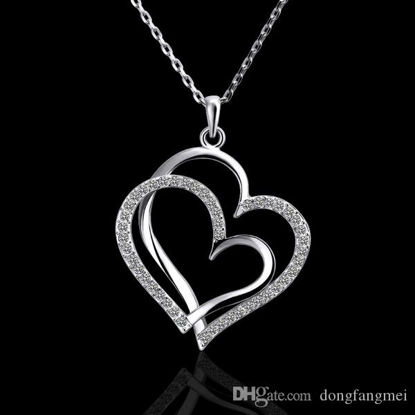 Best gift White Gold White crystal jewelry Necklace for women DGN498,Heart 18K gold gem Pendant Necklaces with chains