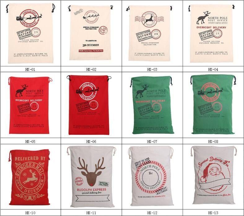 2017 Noel Fabrika satış Ile Büyük Tuval Monogrammable Noel Baba İpli Çanta Reindeers, Monogramable Yılbaşı Hediyeleri Çuval Çanta