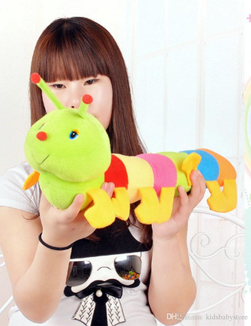 Bonito colorido lagarta projeto bebê brinquedos de pelúcia bichos de pelúcia brinquedos crianças presentes grande inseto boneca