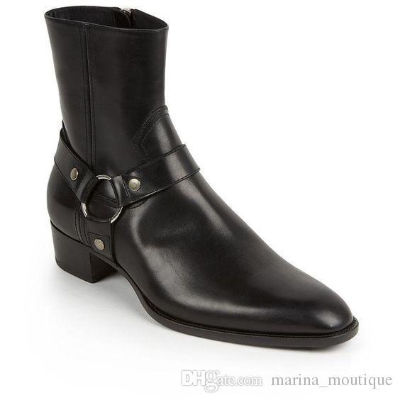 الكلاسيكية وايت الغربية أحذية الرجال العلامة التجارية نمط الأسود جلدية دراجة نارية أحذية الرجال السادة أحذية خريف شتاء 2017