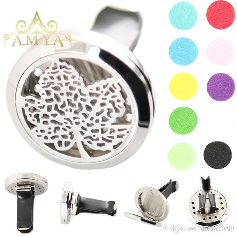 Tree of life 30mm Diffuser 316 Stainless Steel Pendant Car Aroma Locket Essential Oil Car Diffuser Lockets Free Pads