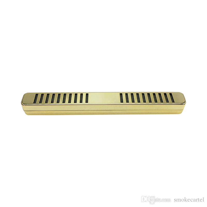 2 unids Oro Blanco Acero inoxidable óxido Tipo de barra Tabaco Tabaco Humidor Humidor Humidificador de Cigarro Humo Humo Fumador Accesorios