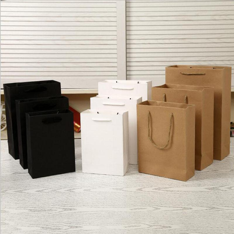 f9a2a15e187f Elegant White Black Paper Gift Bag Small Size Kraft Gift Bags With Handle  Excellent Quality 13 7 21CM Wrapping Paper And Gift Boxes Wrapping Paper  And ...