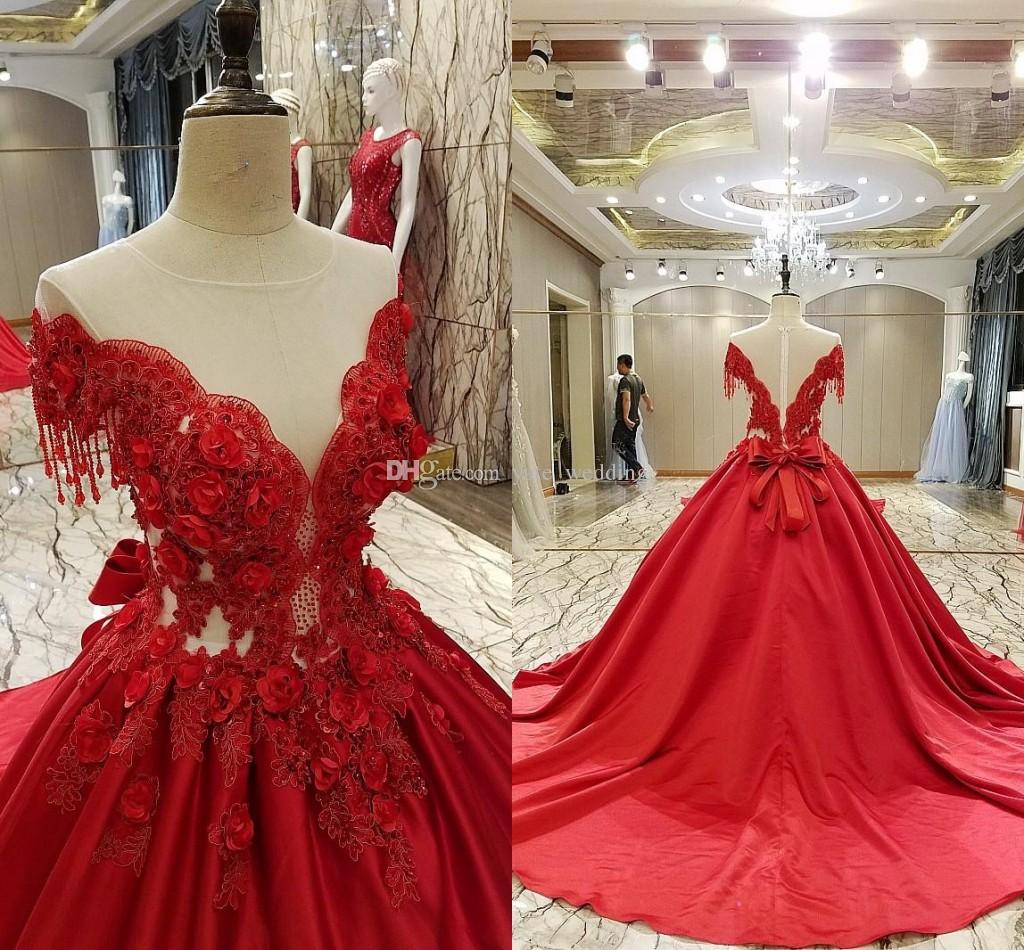 Luxury Red Ball Gown Evening Dresses Off Shoulder Appliques Satin ...