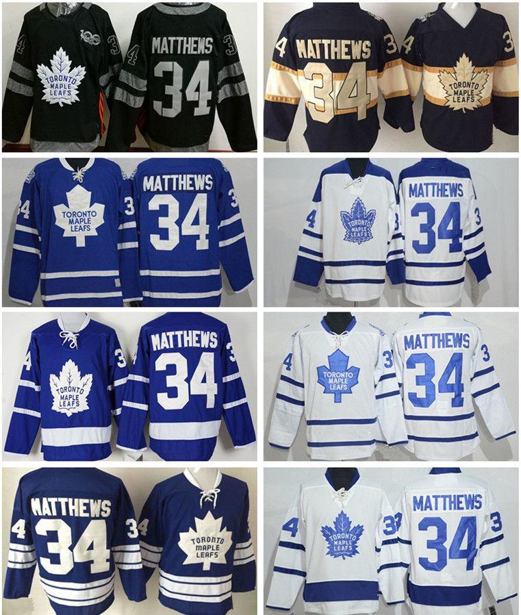 2019 Toronto Maple Leafs Hockey Jersey 100th Anniversary 34 Auston Matthews  RB White Blue Retro Shirt Embroidered Jerseys From Chris sport 195746503