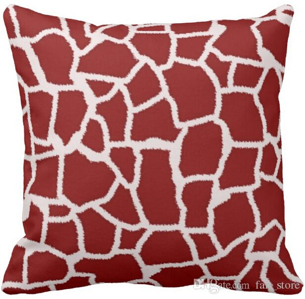 """Throw Pillow Case Dark Red Giraffe Animal Print Square Sofa Cushions Cover, """"16inch 18inch 20inch"""", Pack of X"""