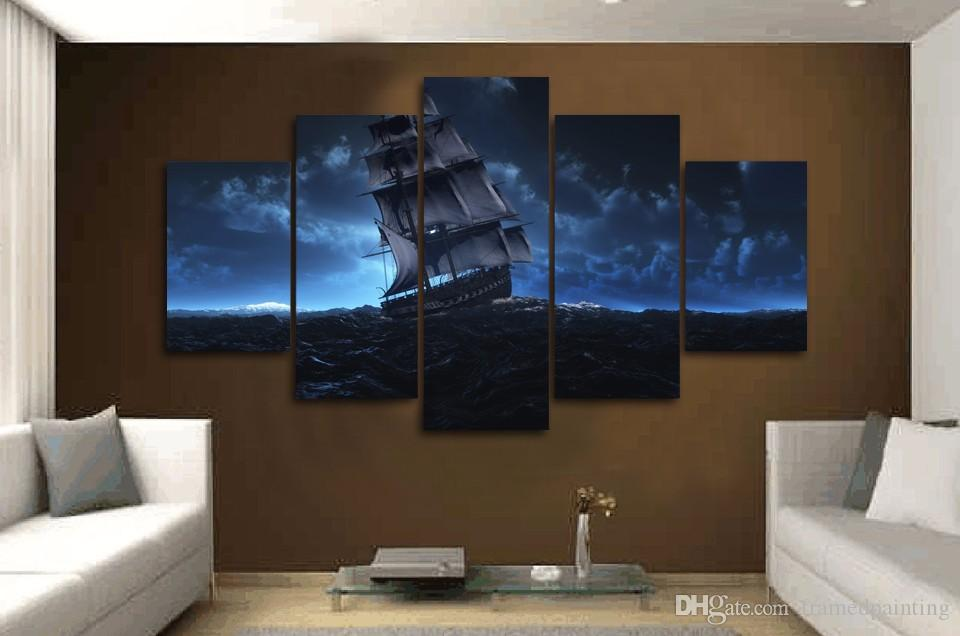 Framed HD Printed Sail Ship Sea Trip Wall Art For Kid Room Canvas Print Poster Canvas Pictures Painting