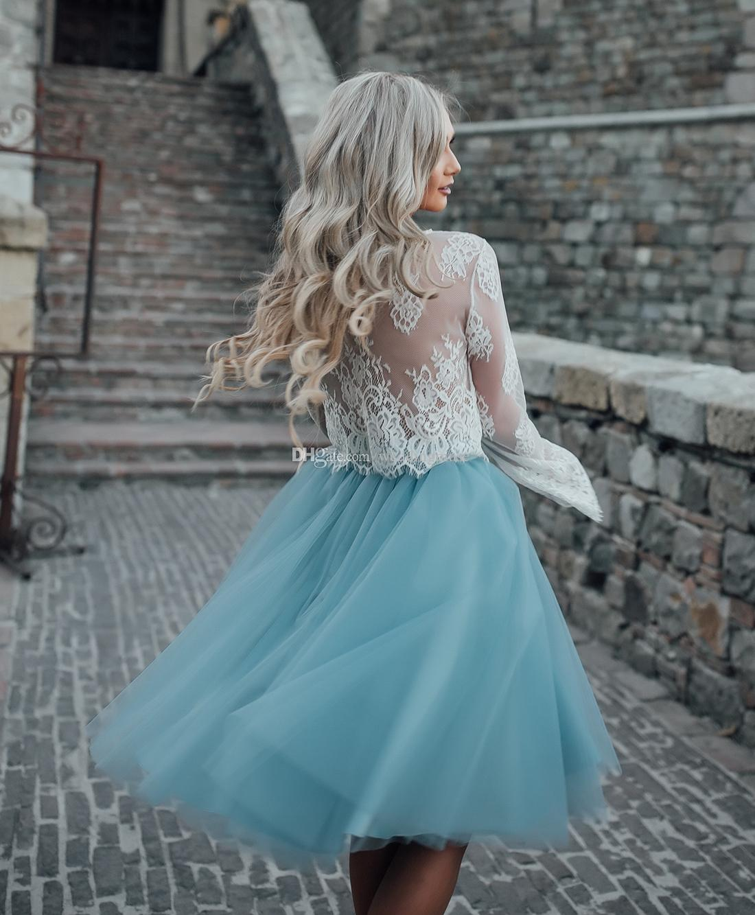 Plus Size Knee Length Two Pieces Prom Dresses Lace Evening Dresses Layers Light Sky Blue Mini Tulle Tutu Skirt Party Gowns